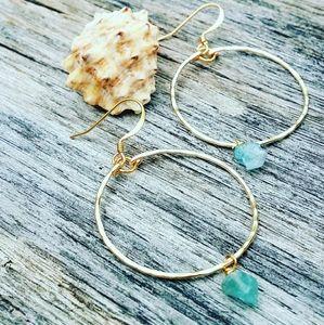GP Raw Aqua Marine earrings